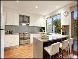 kitchen l shaped kitchen designs with breakfast bar and white chair with