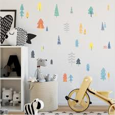 colorful woodland pine tree diy wall sticker nursery art decor forest vinyl wall decals for kids room natural decoration modern wall decal modern wall
