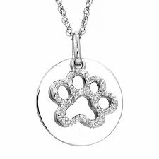 diamond accent paw print with disc pendant in sterling silver