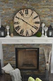 clock above fireplace