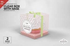 Custom Design Cupcake Boxes Clear Cupcake Box Packaging Mockup By Incdesign On
