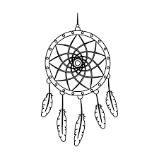 Dream Catcher Outline Dream Catcher With FeathersHippy Single Icon In Outline Style 47