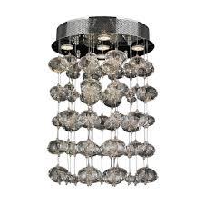 worldwide lighting effervescence 5 light chrome bubble crystal semi flush mount light