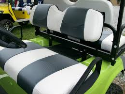 white with gray carbon fiber striped deluxeâ golf cart seat covers