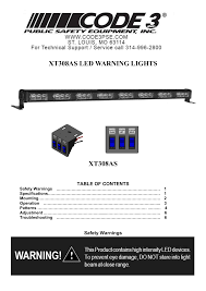 Code 3 Warning Lights Code 3 Xt308 User Manual 7 Pages