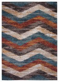 rectangle abacasa granada chevron area rug blue brown rust ivory 63