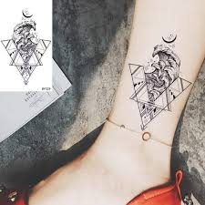 Vankirs Triangle Sea Wave Moon Temporary Tattoos For Girl Women