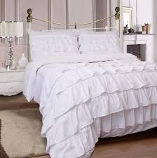 ruffles fitted sheet white and pillowcases
