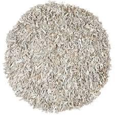 white round area rug. Safavieh Leather Shag White 4 Ft. X Round Area Rug R