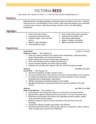 professional server resume