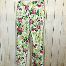 Details About Oilily Womens Ankle Floral Pants Size M 8 38 Blend Ltwt Summer Casual 32b