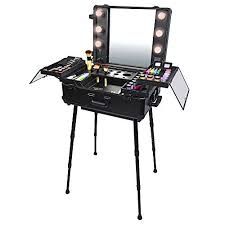 amazon nyx makeup artist train case with lights extra large black silver 1 ounce portable makeup station beauty