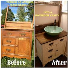 Half Bathroom Vanity We Made The Vanity In The Half Bath From An Antique Wash Stand