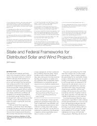 State and Federal Frameworks for Distributed Solar and Wind Projects