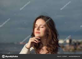 cute woman with natural makeup outdoor stock image