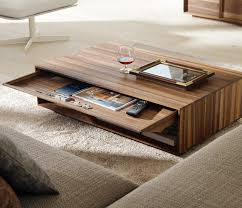 splendid modern wooden coffee table with pullout drawer also wood stripes