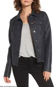 coats jackets levi s faux leather trucker jacket women women s clothing lzddiaxpgp