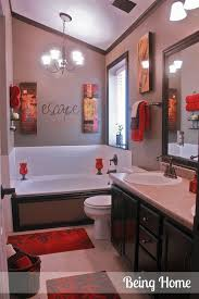 bathroom decorating ideas. Cheap Bathroom Update Idea- Stain Vanity, Frame Mirror, Change Out Faucets. The Outside Of Tub And Add Red Accents. Dark Trim Around Ceiling Decorating Ideas L