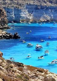 Lampedusa Italy Blue Sea Amazing Beauty Summer Holiday