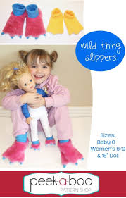 Peek A Boo Patterns Adorable Wild Thing Slippers Halloween Sewing Pattern By Peek A Boo Patterns