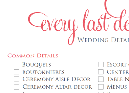 Wedding Detail Checklist Wedding Planning Printable Wedding Detail Checklist Every