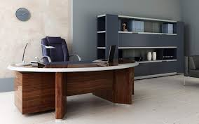 furniture study room. interior curvy brown wooden study desk and black chairs also grey shelves on furniture room