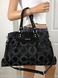 COACH ASHLEY LARGE BLACK GRAY SIGNATURE DOTTED CARRYALL SHOULDER BAG PURSE