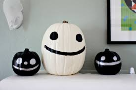 Black and White Painted Cute Halloween Pumpkins