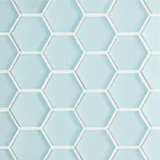 glacier blue glass hexagon mosaic tile