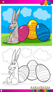 Coloriage Paques Lapin Oeuflll