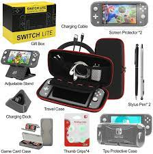 Amazon.com: Switch Lite Accessories Bundle, Kit with Carrying Case,TPU Case  Cover with Screen Protector,Charging Dock,Playstand, Game Card Case, USB  Cable, Stylus,Thumb Grip Caps for Nintendo Switch Lite (Black)