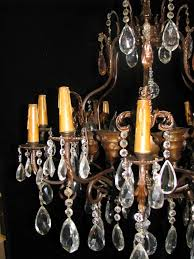 ch41 antique spanish cut crystal hand forged wrought iron 20l chandelier 4 ch41