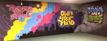 office graffiti wall. a mural painted in collaboration with local youth ohope office graffiti wall