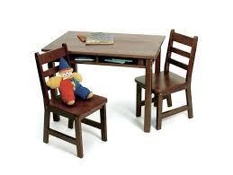 child s rectangular table with shelves 2 chairs walnut finish