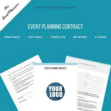 Event Planner Contract Awesome Event Planning Contract For Event And Wedding Planners Etsy