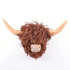 poorly highland cow wall mounted