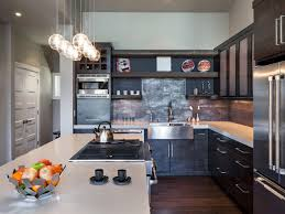 Kitchen:Interesting Industrial Kitchens With L Shape Black Kitchen Cabinet  And Unique Pendant Lamp Ideas