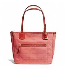 NWT AUTHENTIC COACH 25051 Poppy Red SIGNATURE C OXFORD Tote Purse MSRP  178  Rare