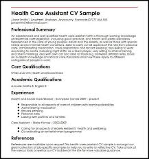 Cv For Care Assistant Health Care Assistant Cv Sample Myperfectcv