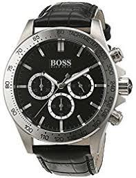 amazon co uk hugo boss watches hugo boss mens quartz watch chronograph display and leather strap 1513178