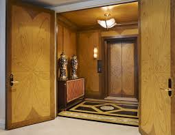 double wood doors entry contemporary with hand painted glass shade