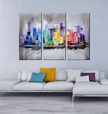 artland modern 100 hand painted framed wall art colorful city 3 on 3 piece framed wall art for sale with artland modern 100 hand painted framed wall art colorful city 3