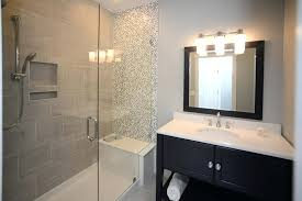 amazing mosaic tile bathroom shower tub bathroom transitional with accent wall mosaic tiles open shelf glass
