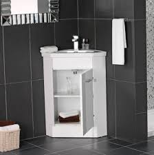 black ceramic wall and floor tiles for modern bathroom ideas with small and cute corner vanity ikea