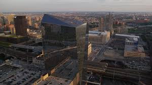 N 5K Aerial Video Of Cira Centre Office Building In West Philadelphia  Pennsylvania Sunset Aerial Stock Footage AX80_084