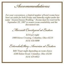 Hotel Accommodations Cards Wording For Accommodation Cards For Wedding Invitations Wedding