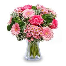 sincere smile pink roses and gerberas