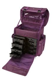 professional soft sided rolling makeup case w drawers purple