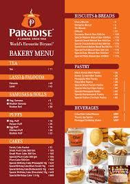 Restaurant Menu | Hyderabad Restaurants Menu | Paradise Menu