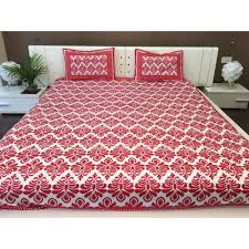double size block print cotton red and white bed sheet zoom
